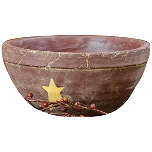 Your Hearts Delight Primitive Star Bowl 4-3/4 by 9-1/4-Inch Burgundy