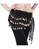 Viskey Fashion Chiffon Belly Dance Waist Chain with Golden Coins in 3-Layers,Black