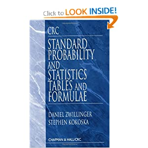 Standard Probability and Statistics Tables and Formulae Daniel Zwillinger