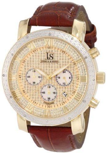 Joshua & Sons Caballero JS728YG Diamond cron-grafo Strap Reloj
