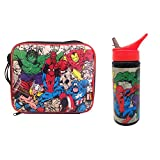 Marvel Comics Retro Lunch Bag and 600ml Bottle