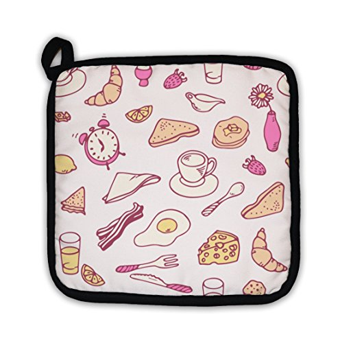 Gear New Pot Holder, Doodle Breakfast Pattern, GN27019