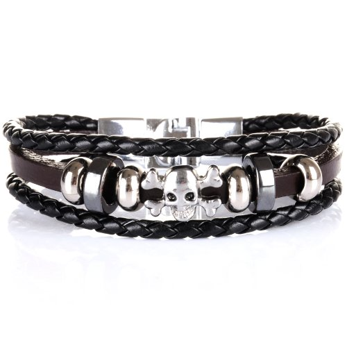 Yesurprise Fashion Cool Men's Women's Punk Rock Skull Black Leather Bangle Bracelet Wristband Gift