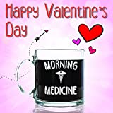 Morning Medicine Funny Glass Coffee Mug 13 oz - Cool Birthday Present Idea for Coffee Lovers, Men & Women, Him or Her - Unique Valentines Day Gifts for a Mom, Dad, Husband, Wife, Boyfriend, Girlfriend