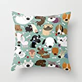 Dogs Pillowcase 16 X 16 Inches / 40 By 40 Cm For Living Room,kitchen,home,festival,girls,floor With Both Sides