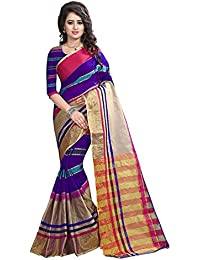 Sarees(Perfectblue Women`s Cotton Silk Saree With Blouse Piece(Purple)