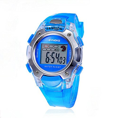 Kano Bak Fashion Child Kids Boy Girl Student Digital Crystal Alarm Sports Waterproof Waterproof Gift Watch Blue 99319