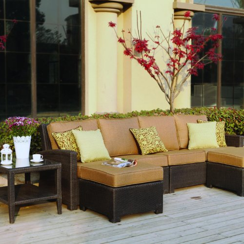 Darlee Vienna 4-person Resin Wicker Patio Sectional Set - Espresso picture