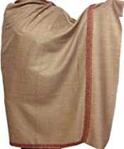 Hand Embroidered Wool Shawl Wrap Womens Indian Clothing (Brown, 82 x 40 inches)