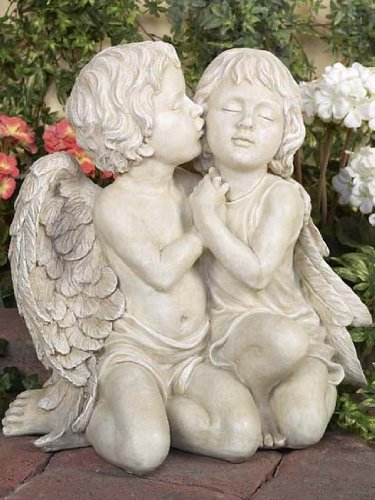 Pack of 2 Inspirational Statuary Boy and Girl Angel Kissing Statues 16