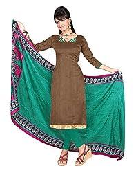 Lookslady Printed Brown Khadi Silk Dress Material