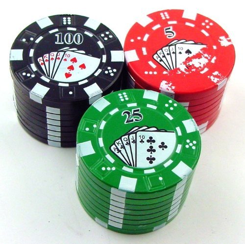 Poker Chip Herb Grinder With Pollen Catcher, Color May Vary