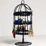Market-one Cute Black Birdcage Jewelry Earring Stand Holder Necklace Display Rack