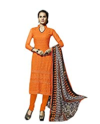 Amyra Women's Chiffon Dress Material (AC796-01, Orange)