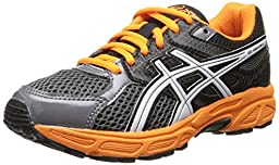 ASICS Gel Contend 3 GS Running Shoe (Little Kid/Big Kid), Carbon/White/Orange, 2 M US Little Kid