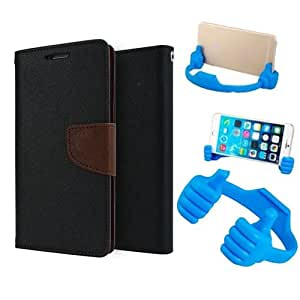 Aart Fancy Diary Card Wallet Flip Case Back Cover For Redmi 2S/Prime - (Blackbrown) + Flexible Portable Mount Cradle Thumb Ok Stand Holder By Aart store