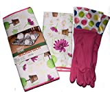 Pink Colorful Polka Dot and Floral Kitchen Linen 3 Piece Gift Set Microfiber Drying Mat, Towel & Gloves