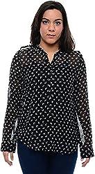 CHLOE Women's Regular Fit Shirt (CH-AM-11356P25-XL, Black, XL)