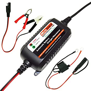 MOTOPOWER MP00206A 12V 1.5Amp Fully Automatic Battery Charger / Maintainer for Cars, Motorcycles, ATVs, RVs, Powersports, Boat and More. Smart, Compact and Eco Friendly