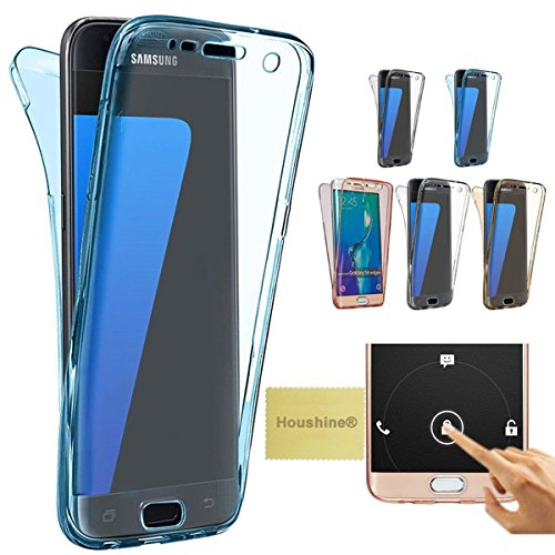 Note 4 case(Front+Back Cover Gel Series), Houshine Shockproof TPU 360 degree Protective Clear Crystal Rubber Soft Case Cover For Samsung Galaxy Note 4, Transparent Blue (Front And Back Case For Note 4 compare prices)