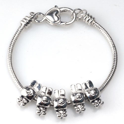 Pugster Cute Rabbit Beads Fits Pandora Charms (Not Include Bracelet)