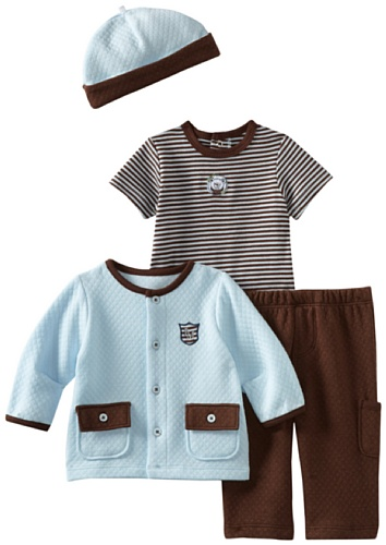 Little Me Baby-boys Newborn Genteel Ted 4 Piece Pant Set