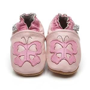Chaussons Bébé en cuir doux Papillon Rose 6/12 mois