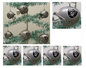 NFL Football Oakland Raiders Set of 6 Holiday Christmas Tree Ornaments Featuring... by Holiday Ornaments