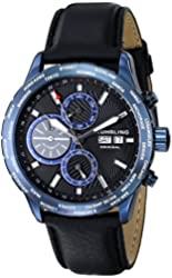 Stuhrling Original Men's 497.03 Classic Nomad Blue Stainless Steel Automatic Watch with Black Leather Band