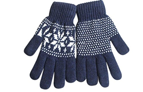 [Veenajo Men's Winter Warm Soft Knitted Double Layer Snowflake Gloves (Navy)] (Childrens Dressing Up Knights Outfit)