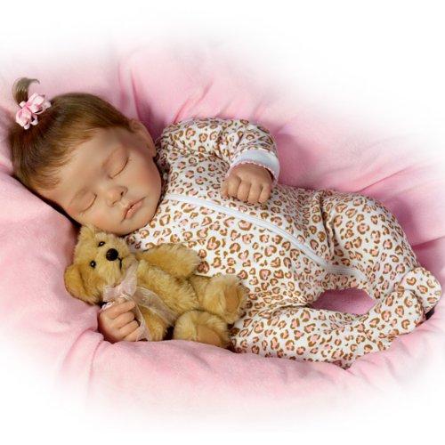 "Sweet Dreams Ellie Lifelike Doll With Plush Teddy-Bear - 16"" By Ashton Drake"