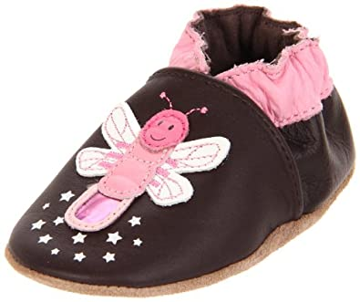 Robeez Soft Soles Touch & Feel Firefly Pre-Walker (Infant/Toddler),Brown/Pink,18-24 Months (6.5-8 M US Toddler)