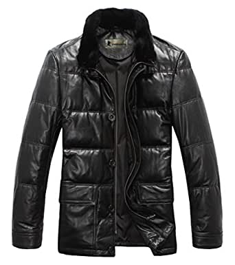 emperadoor herren winterjacke pelzkragen daunenmantel lederjacke outwear schwarz 3xl. Black Bedroom Furniture Sets. Home Design Ideas