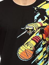 Slingshot Men's Trendy Round Neck Ninja Turtles Cotton Black T-shirt SS16-TM-14-M-Black-Medium
