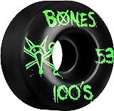 【BONES】スケートボード ウィール ボーンズ OG 100S 53mm V4 黒ベース 緑プリント