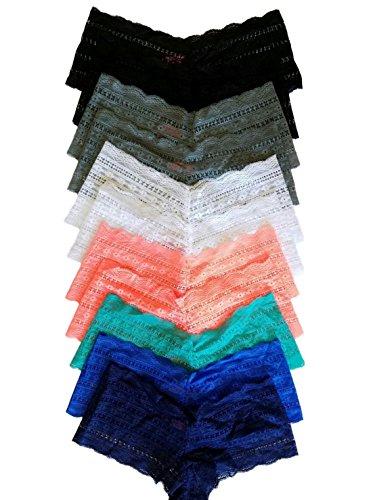 Plus Size Boy Shorts Lace Panties – 12 pack (2x/3x)