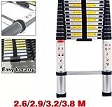 TELESCOPIC MULTI PURPOSE ALUMINIUM LADDER EXTENDABLE 2.6 3.2 3.8 METER NEW (2.6M (8.5ft))