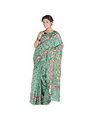 ELife Green Cotton Silk Designer Saree For Women