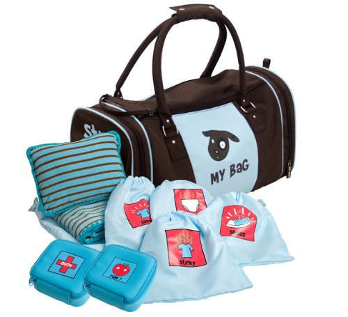 Kushies My Bag The Ultimate Daycare/Overnight Bag, Boy Brown/Blue front-797375