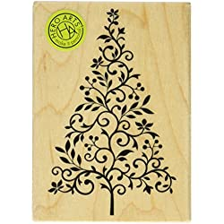 Hero Arts Branch and Flourish Tree Woodblock Stamp