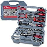 """Hi-Spec 67 Piece SAE Auto Mechanics Tool Set - Professional 3/8"""" Quick Release Offset Ratchet with 72 Teeth, 5/32"""" - 3/4"""" SAE Sockets Set, T-Bar, Extension Bar, Hand Tools & Screw Bits in Storage Case"""