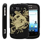 MINITURTLE, Slim Fit Graphic Design Image 2 Piece Snap On Protector Hard Phone Case Cover, Stylus Pen, and Clear Screen Protector Film for Prepaid Android Smartphone ZTE Fury N850, ZTE Director N850L, and ZTE Valet Z665C (Skull and Leaves)