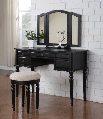 3 Pc Makeup Vanity Set Table  5 Drawers, Stool