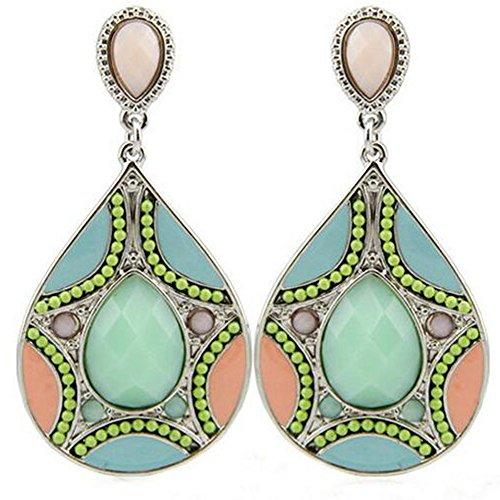 GERGER BO Women's Europe Beads Pattern Resin Droplets Earrings(Green) (Posh Spice Costume)