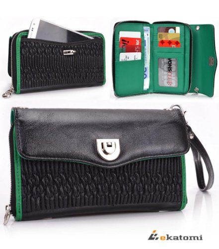 Special Sale GREEN & BLACK | Apple iPhone 5 / 5s / 5c Mobile Phone Case with Cash & Card Holder | Universal Women's Wallet. Bonus Ekatomi Screen Cleaner [Splash Series]
