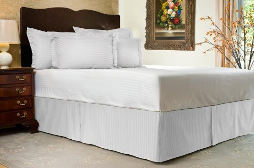 "Super Soft 800 Thread Count Full Size Bed Skirt In Stripe White With 24"" Drop Length By Bed&Linen front-997983"