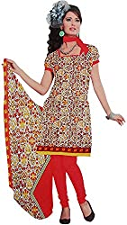 Majaajan Women's Cotton Self Print Unstitched Salwar Suit Dress Material (BNSL0650RED, Red, Freesize)