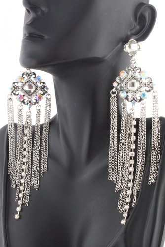 Ladies Silver Two Tone Clear Antique Styled Outlined Diamond Shape Stones 5 Inch Dangle Earrings