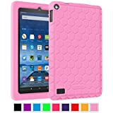 """Fintie Fire 7 2015 Case - [Honey Comb Series] Light Weight [Anti Slip] Shock Proof Silicone Protective Cover [Kids Friendly] for Amazon Fire 7 Tablet (7"""" Display 5th Generation - 2015 release), Pink"""