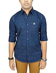 AA' Southbay Men's Dark Blue 100% Cotton Long Sleeve Casual Shirt